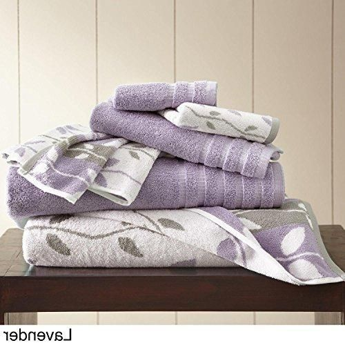 Purple Floral Towel Set Gorgeous Lavender Jacquard Flower Design Nature Leaf Linen Grey Border White Gray Bathroom Towels Shower Towel Set Cotton Towels Towel