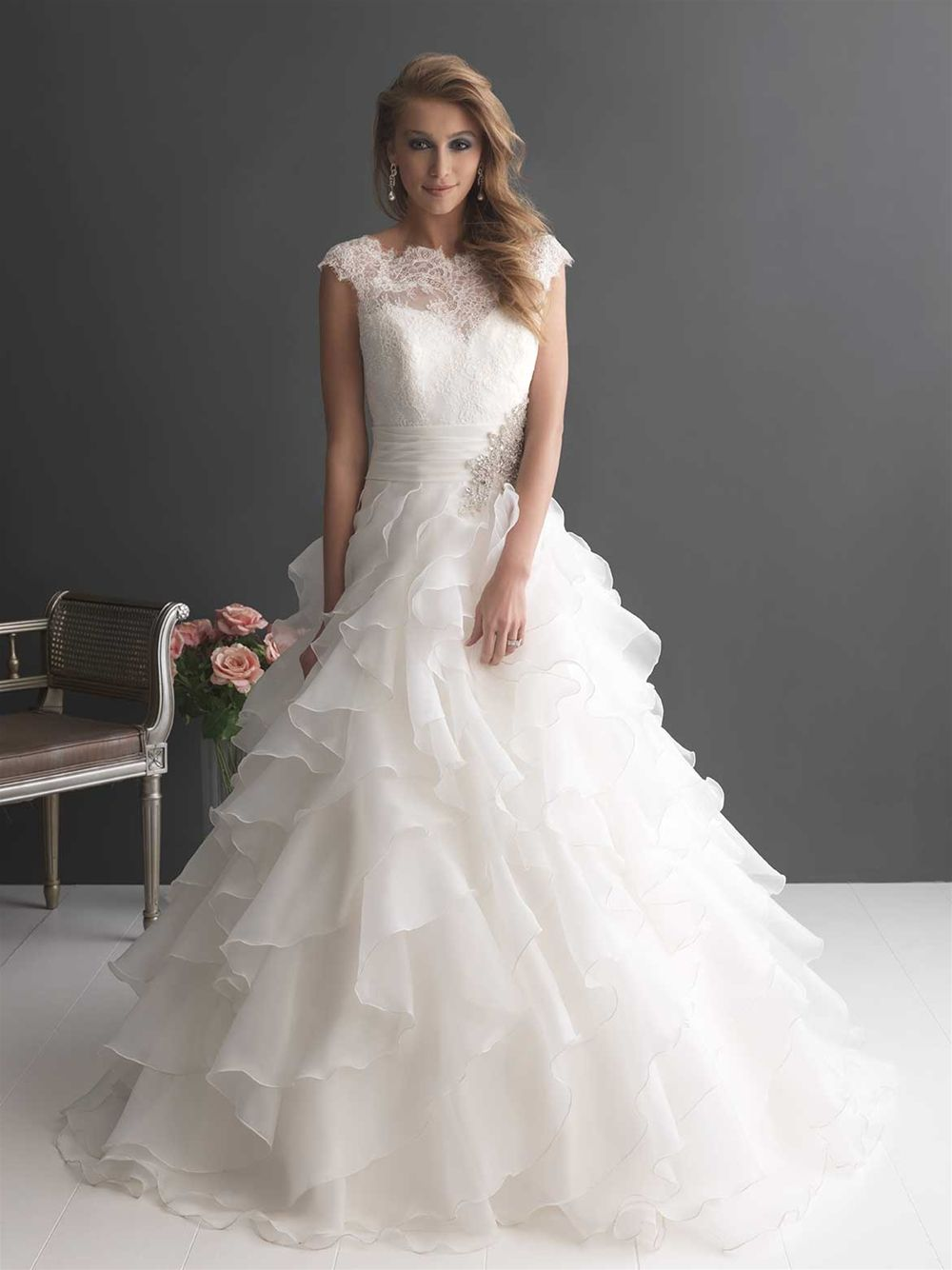 Allure bridals style this romantic ball gown is created from