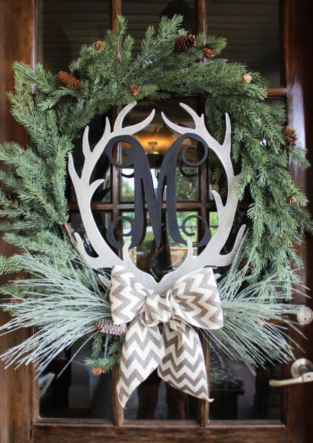 Single Initial Wood Antlers Preppy Home Wreaths Christmas Christmas Wreaths