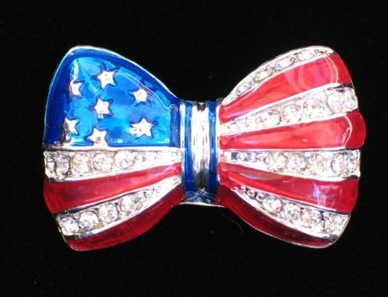 """PATRIOTIC FLAG UNITED STATES USA MEMORIAL INDEPENDENCE DAY BOW TIE PIN BROOCH 1"""" #Unbranded"""