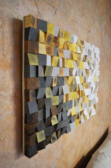 Art de mur en bois – Lhiver arrive, Art du bois récupéré, décor dart de mur de 3 d, mosaïque de bois, sculpture en bois, peinture abstraite, art mural géométrique