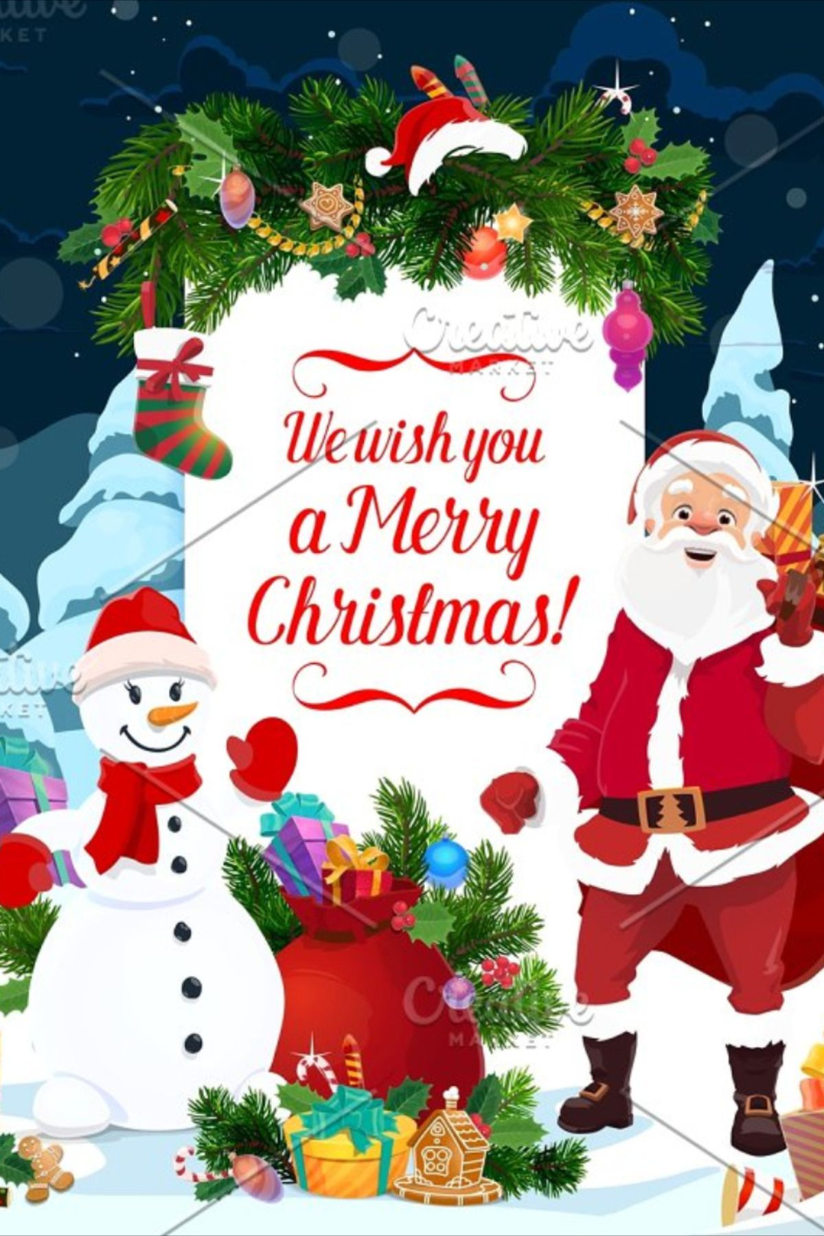 Santa Snowman And Christmas Gifts With Images Christmas Gifts New Year Greeting Cards Christmas Ornaments