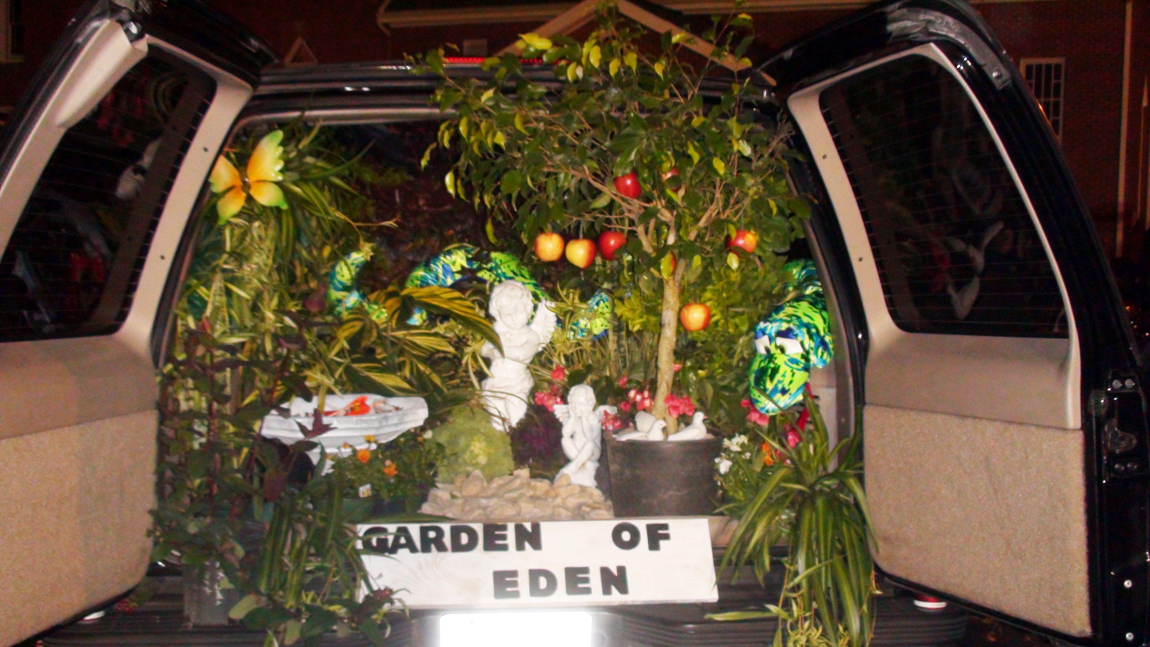 Theme: Garden of Eden, Rocky Hock Baptist Church Trunk or Treat/Fall Festival 2013. #trunkortreatideasforcarsforchurch