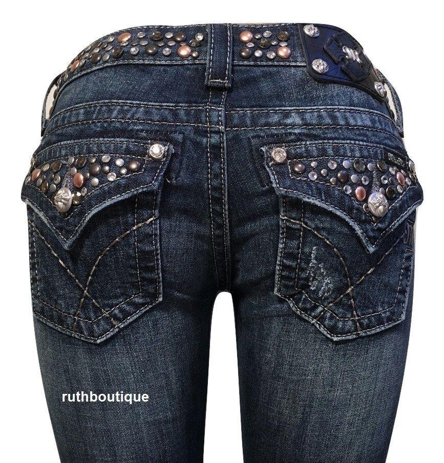 Miss Me Size 26 Jeans Beautiful Crystal Studs & Glitz JW4288B31 Boot Cut $118.00 #MissMe #BootCut