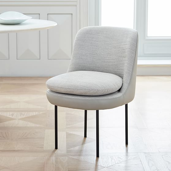 Modern Curved Leather Back Dining Chair Interior Sparks