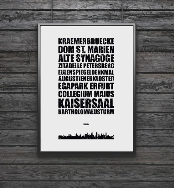 Digitaldruck - Poster Erfurt Skyline Kunstdruck/Wandbild - ein Designerstück von FineArtsCrafts bei DaWanda