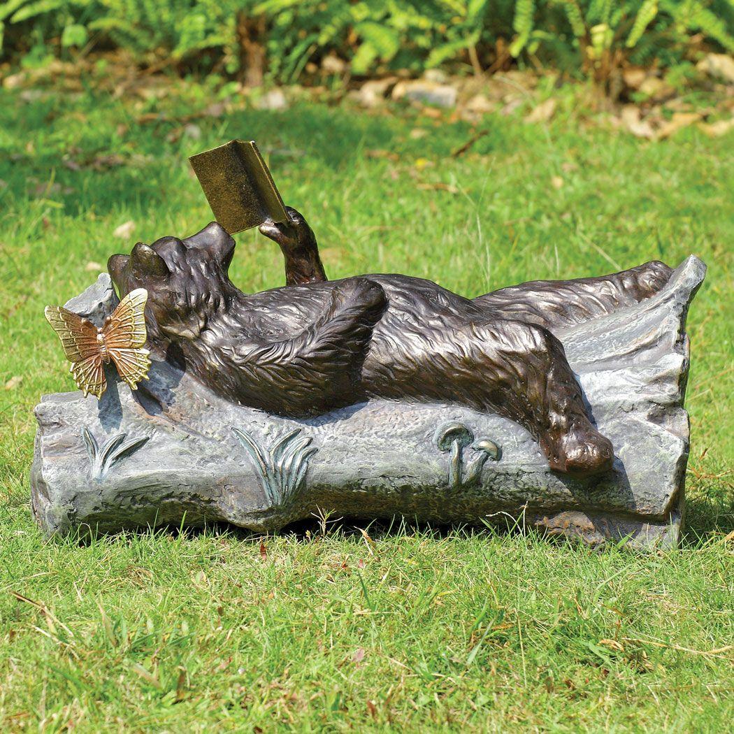 Bear and book garden sculpture black forest decor
