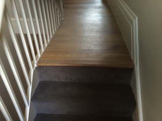 Stairs, Stair landing, Grey stair carpet