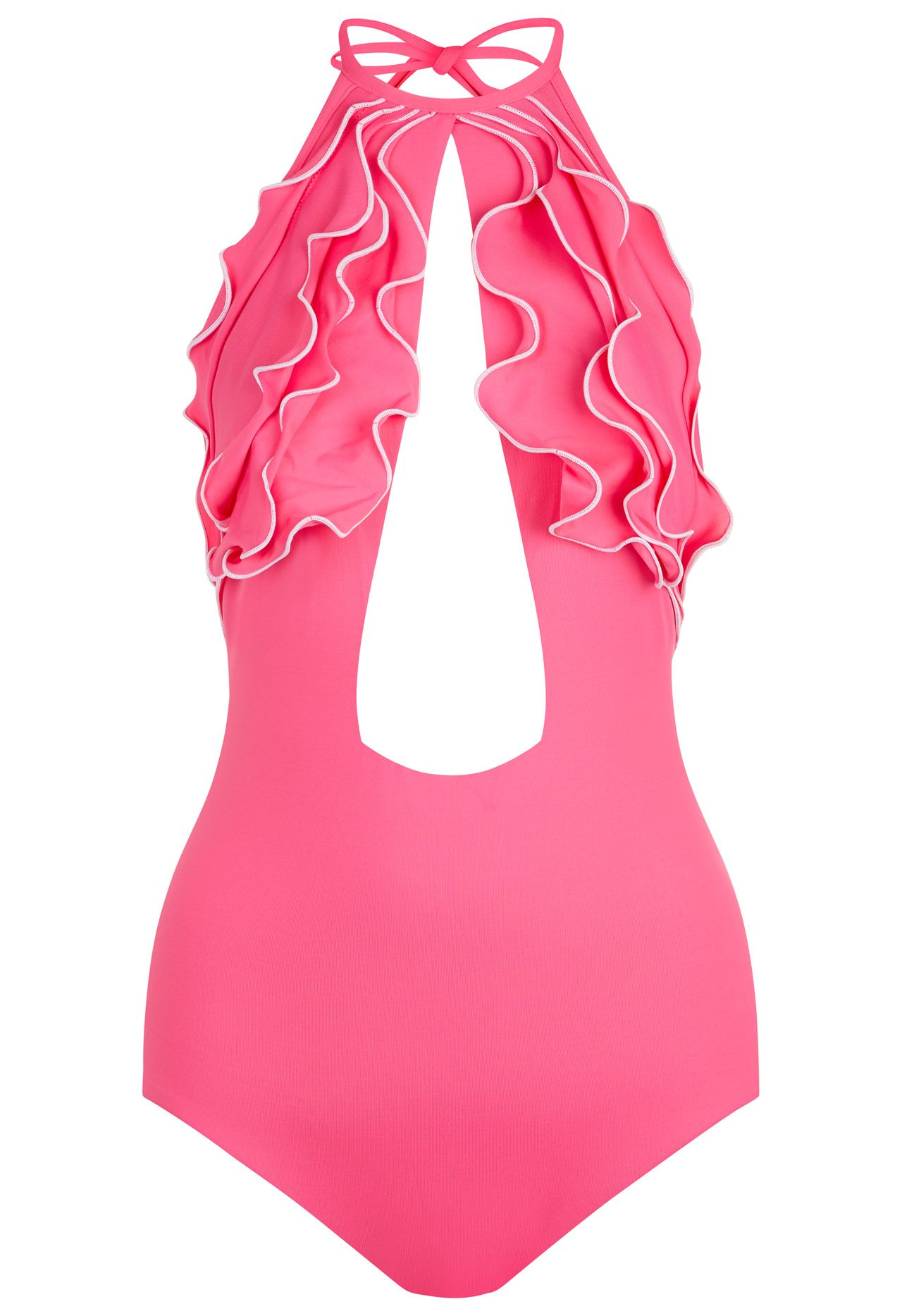 Waves La Perla Pink Halter Neck Cut Out Swimsuit With Ruffles