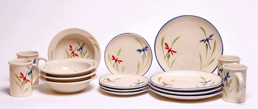 Dragonfly Coupe Dinnerware Set For Four Made In The Usa American