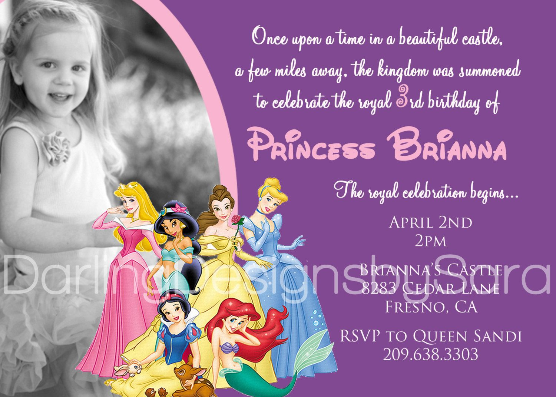 disney princess invitation with photo