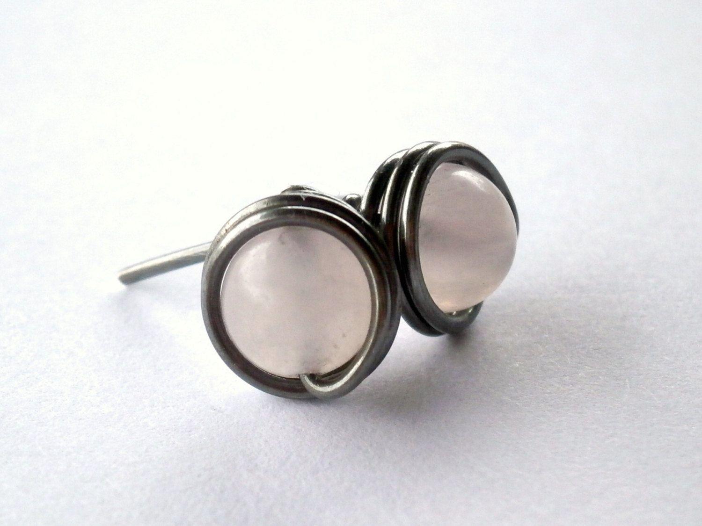 Rose Quartz Wire Wrapped Stud Earrings. Oxidized by RuthAndJack