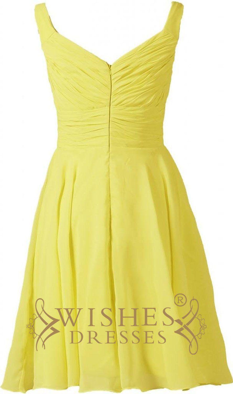 Yellow chiffon knee length sweetheart neckline bridesmaid dress with