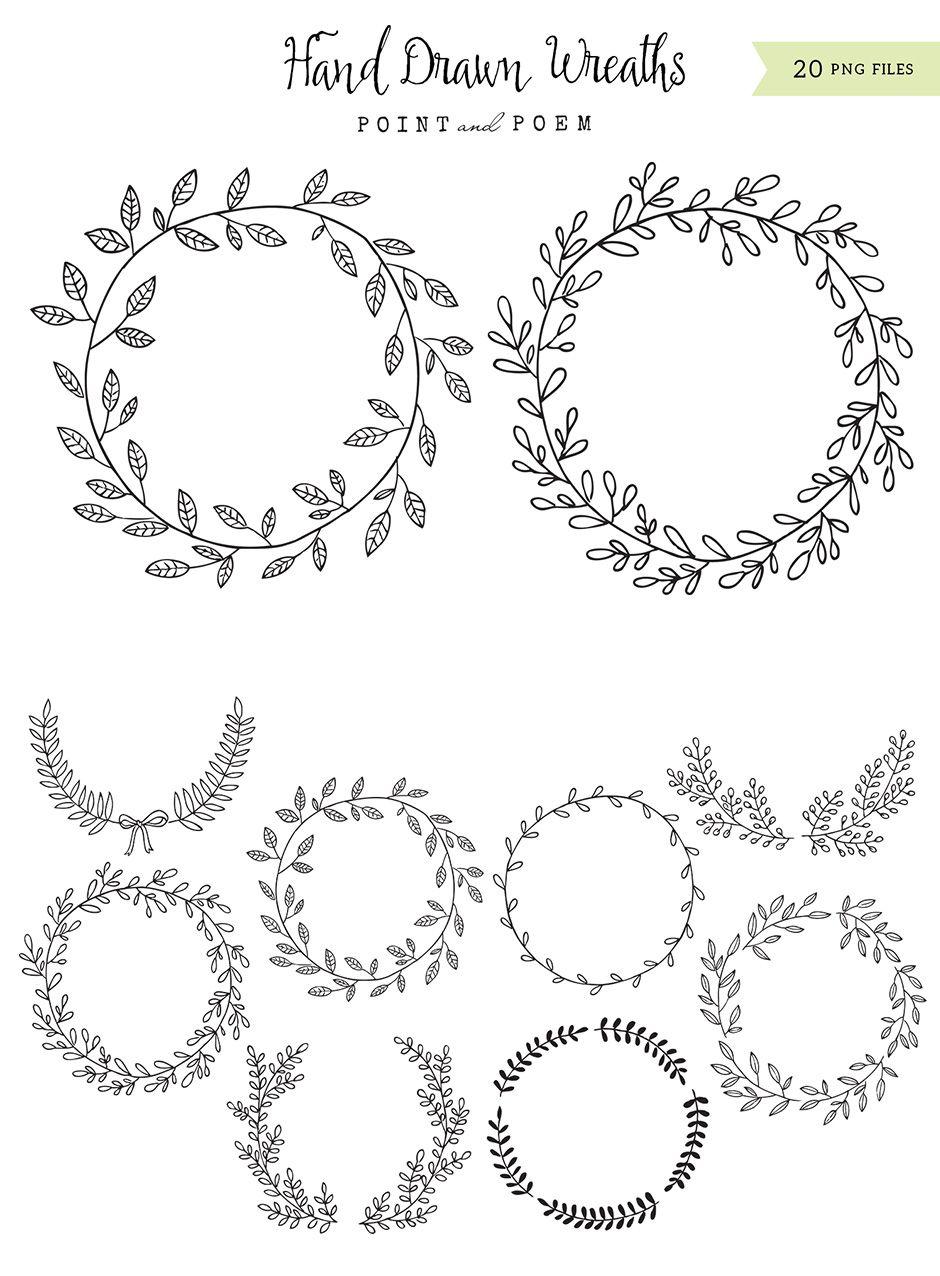 Hand-drawn Wreaths Black & White - https://www.designcuts.com ...