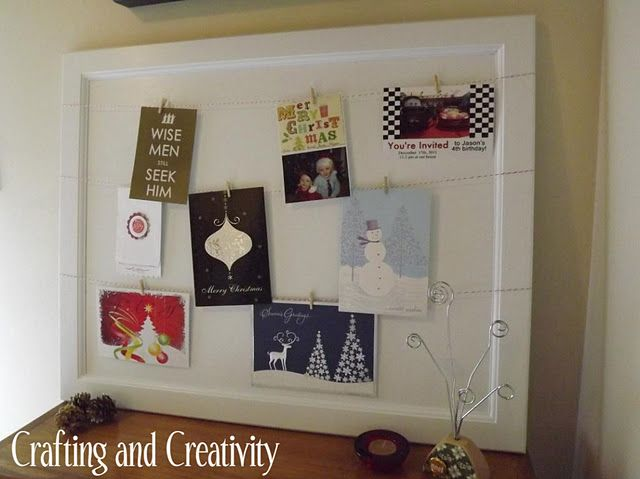 Christmas Card Display from an old Cabinet Door CHRISTmas