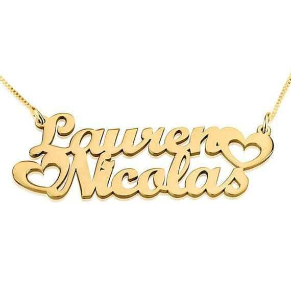 6fa001a86e8d3 Name Necklace 24k Gold Plated Personalized Customized Two Names ...