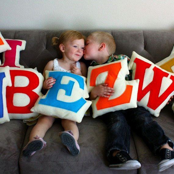 Personalized Children Custom Monogram Letter Pillow by MableDear, $35.00