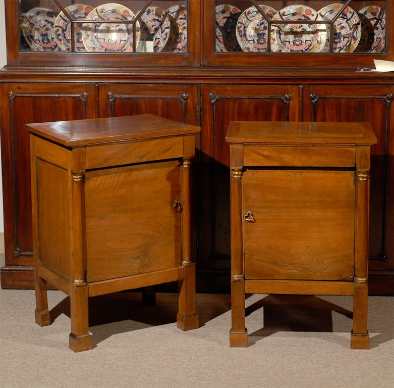 Pair of Empire Style French Walnut Bedside Commodes image