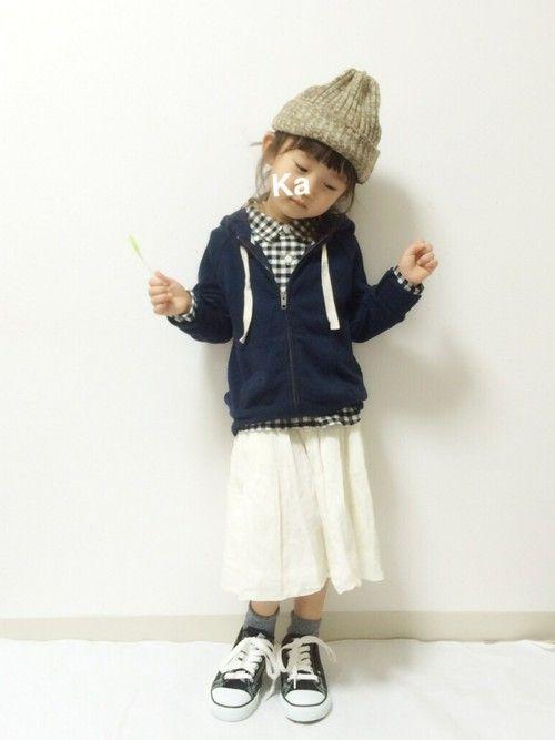 #KIDS #キッズコーデ #チェックシャツ #無印良品 #スニーカー×靴下 #