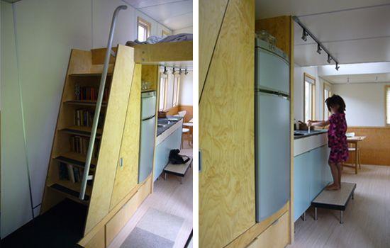 minihome solo by sustain design studio...love the bookshelf/staircase idea!!!