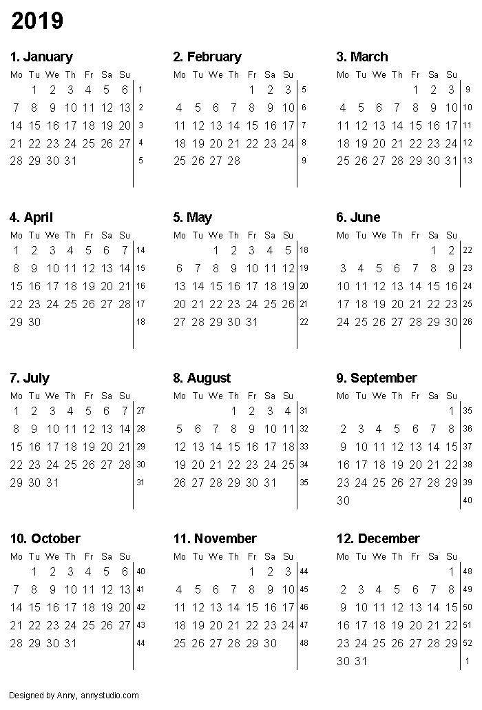 Printable Calendar 2019 With Month Numbers And Week Numbers