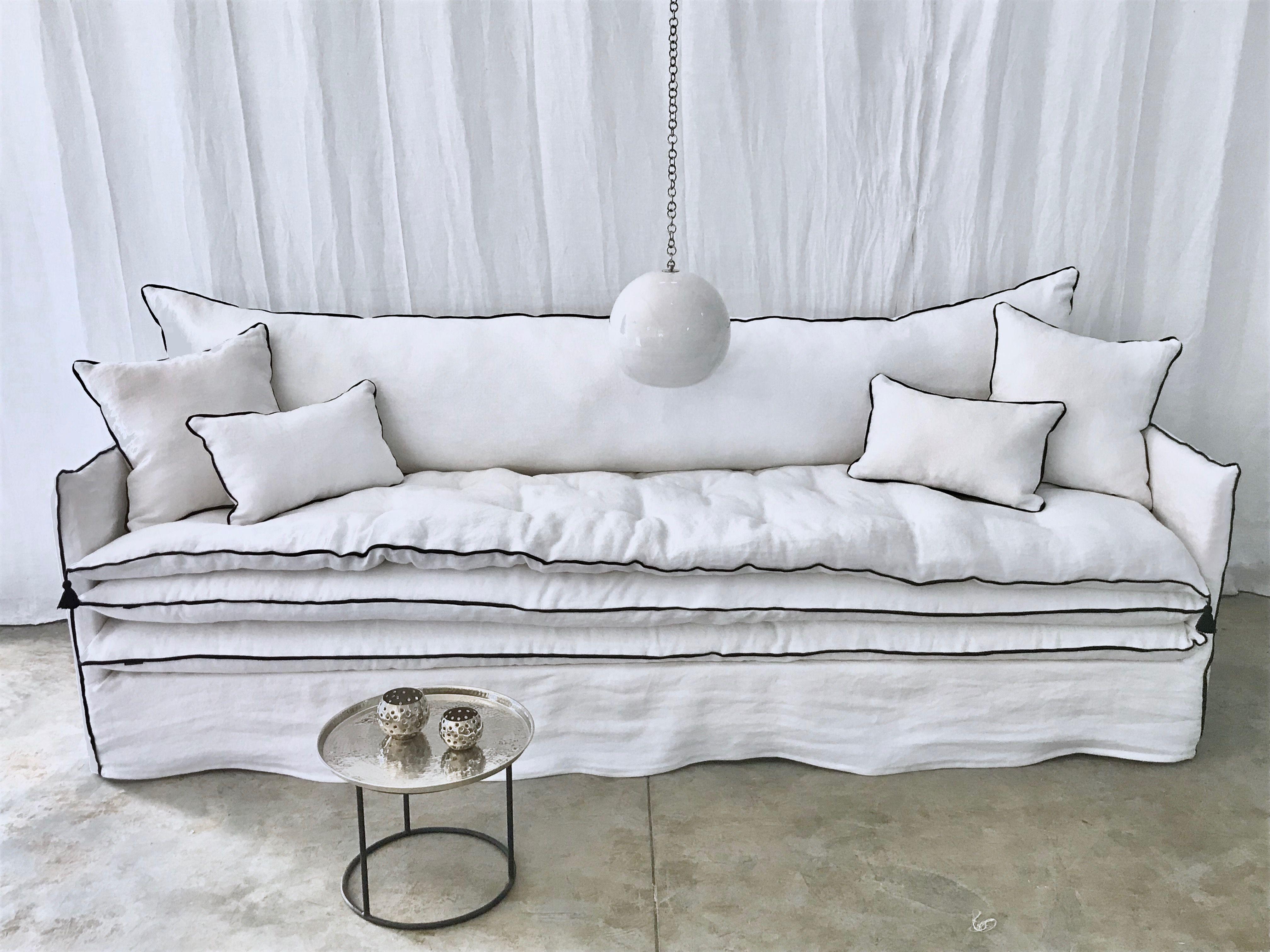 Canape Sur Mesure Lin Lave Blanc Mille Et Une Nuit 2 Canape Haut De Gamme Canape Canape Lin