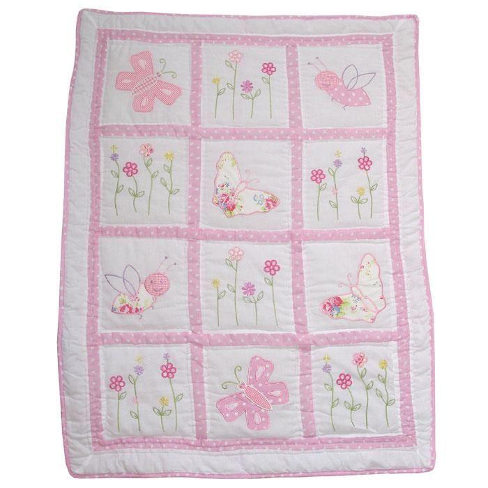 Pink Cot Quilt Pocket Stitched