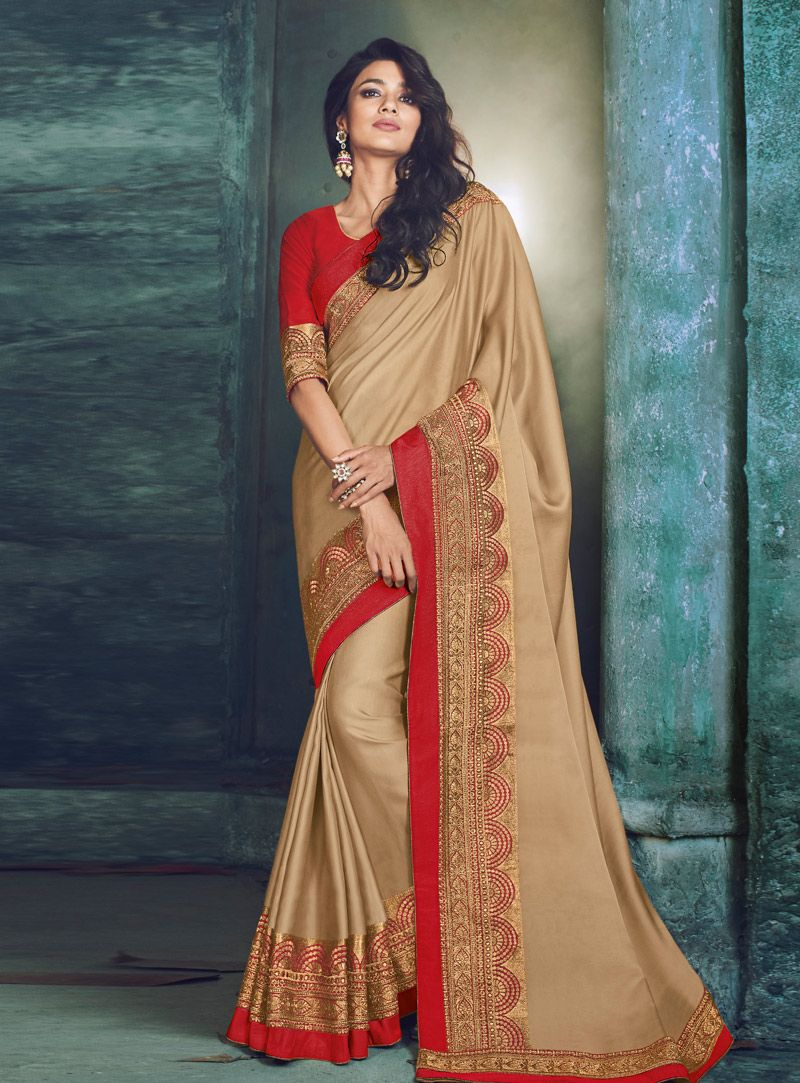 9e372f40c7 Buy Beige Satin Silk Saree With Blouse 144647 with blouse online at lowest  price from vast