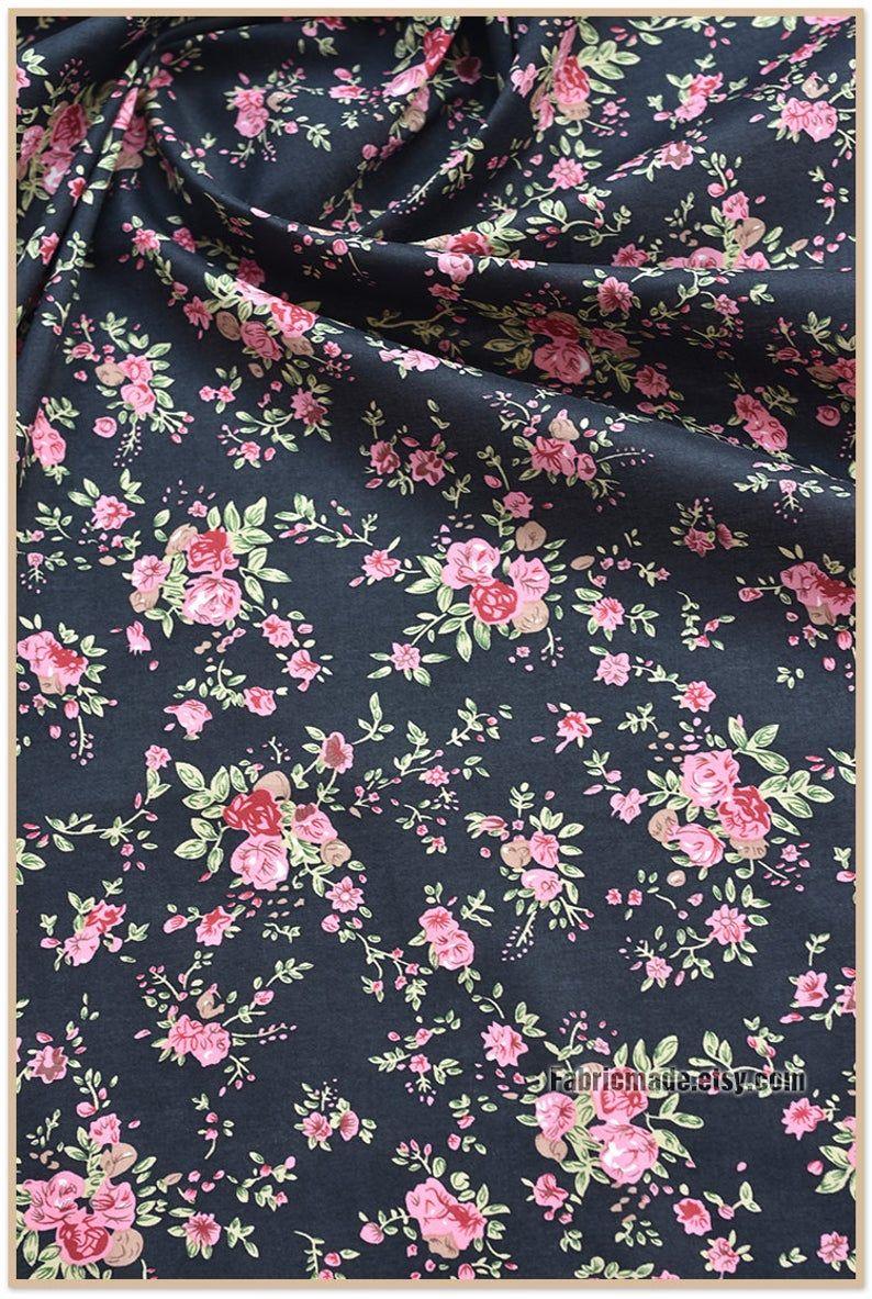 Cotton Fabric Gray Blue Pink Purple