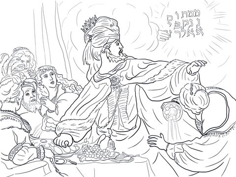 King Belshazzar and the Writing on the Wall coloring page