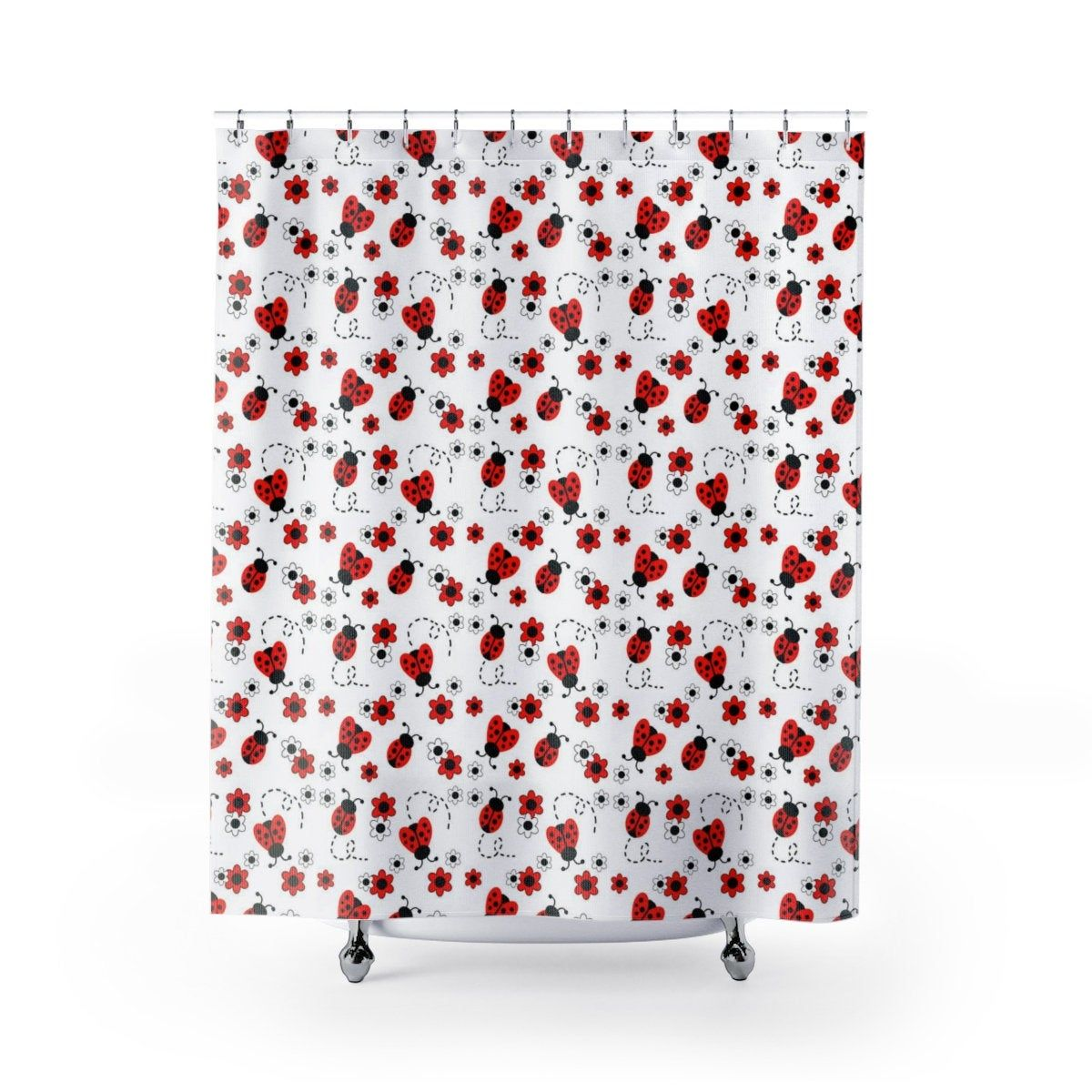 Ladybug Shower Curtains Girls Bathroom Floral Bath Room Decor Girls Red Lady Bug Ladybird Shower Curtain Kids Bathroom Bug Decorations Kids Shower Curtain Girls Room Decor Girls Bathroom