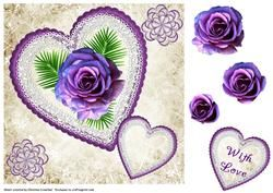 Purple Rose In Heart With Love