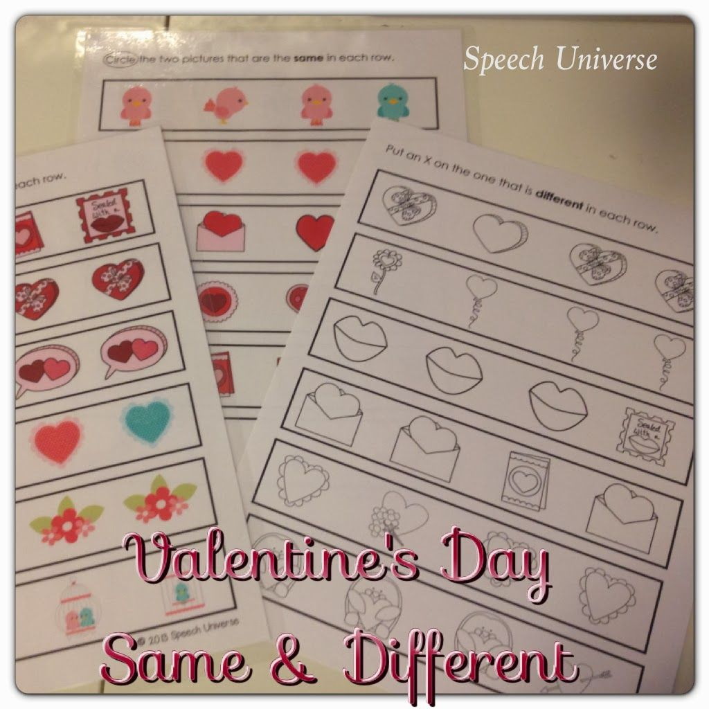 Valentine S Day Same Amp Different Worksheets