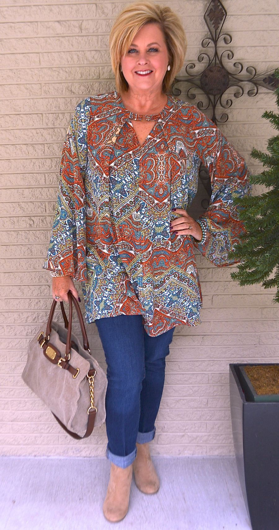 50 Is Not Old  How To Get Noticed  Boho Chic  Tunic -4058