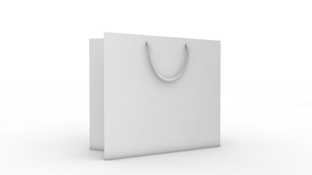 SHOPPING BAG Empty, white shopping bag standing on clean, white ...
