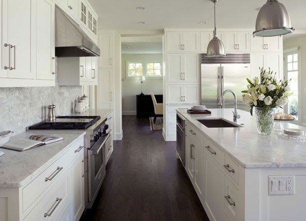 Dark Floor White Cabinet Kitchen charlie & co. design - i like this layout and design of the island