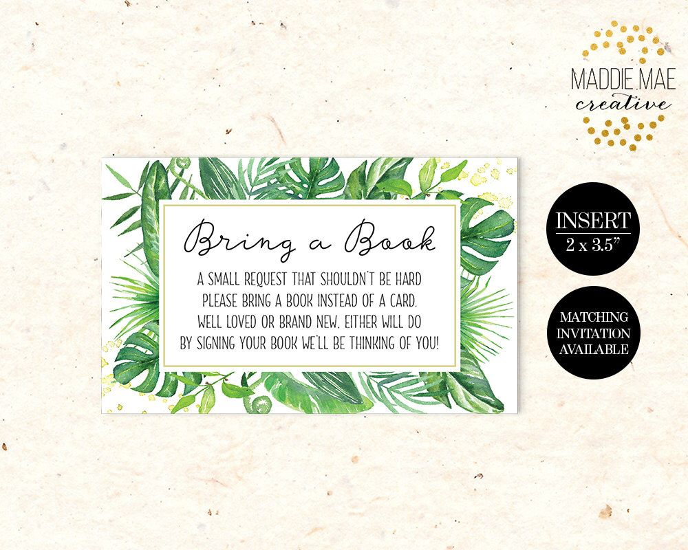 Bring a Book Insert Card, Coordinates with Tropical Baby Shower Invitation, Tropical, Greenery, Leaves, Tropical Plants, Insert Card by MaddieMaeCreative on Etsy https://www.etsy.com/listing/497638180/bring-a-book-insert-card-coordinates
