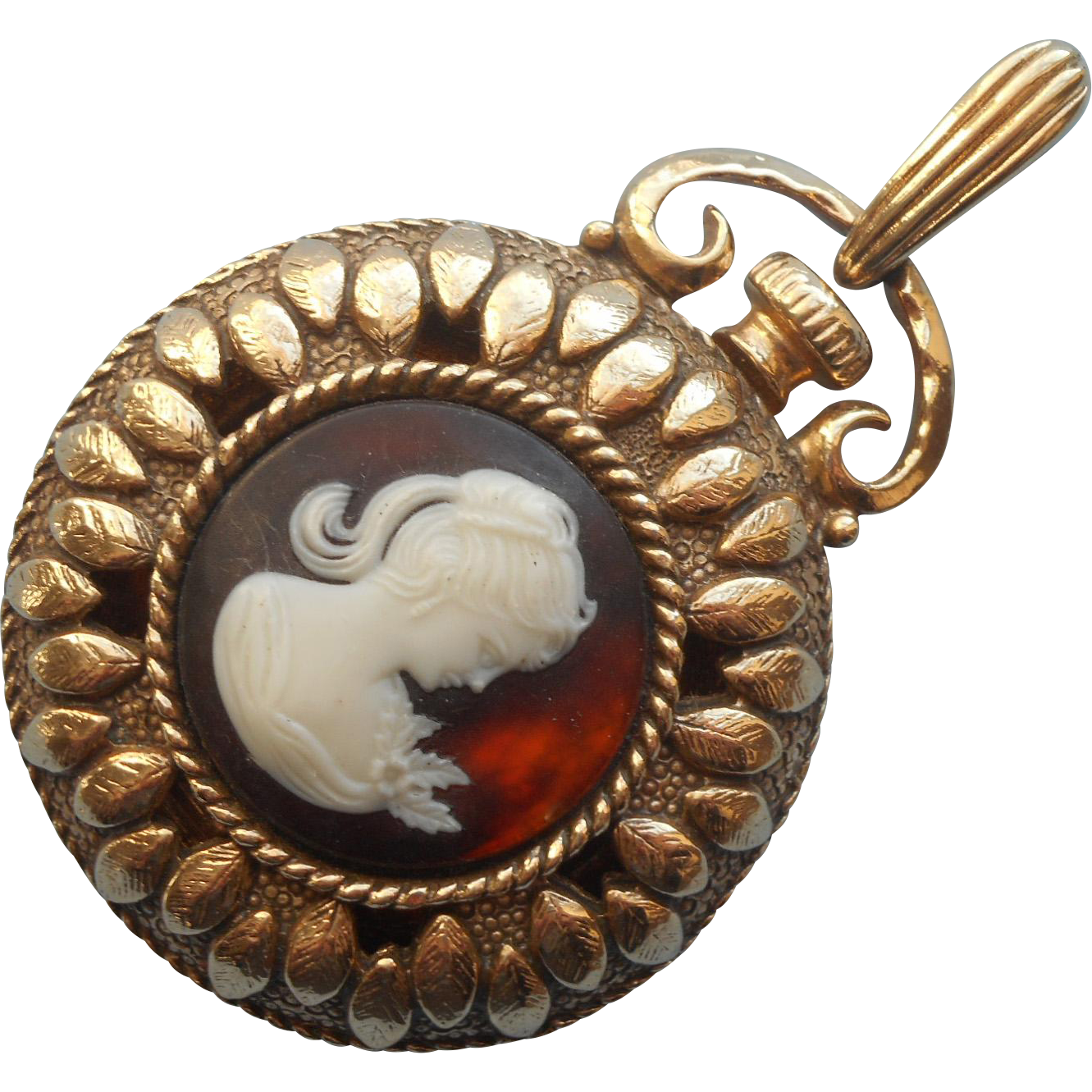 Brown cameo faux pocket watch pendant locket vintage sarah coventry brown cameo faux pocket watch pendant locket vintage sarah coventry aloadofball Image collections