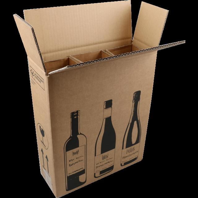 Sendproof Wine Mailing Box Corrugated Cardboard 3 Bottles 305x108x368mm Brown Black Packing Box Design Wine Bottle Packaging Wine Box