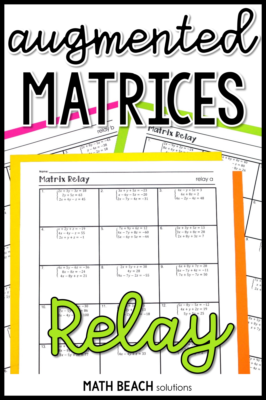 Matrix Relay Activity Algebra Resources Algebra Activities Solving Inequalities