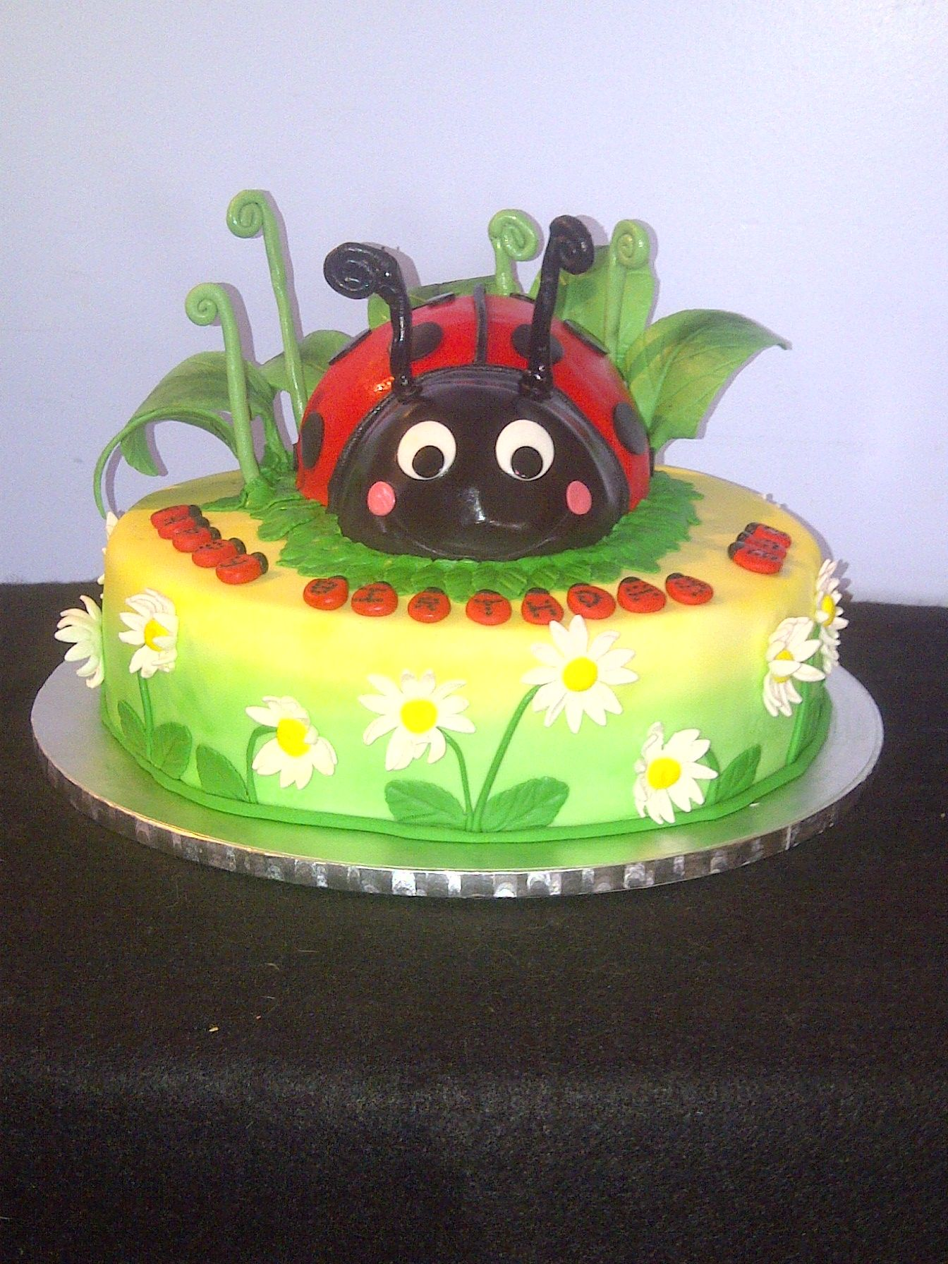 """Smoochies Creations - Ladybug and Daisy Cake - Bottom tier is a 12"""" Coconut Cake with Coconut cream pie filling and coconut swiss meringue buttercream. Top tier the ladybug is a banana chocolate chip cake with banana swiss meringue buttercream."""