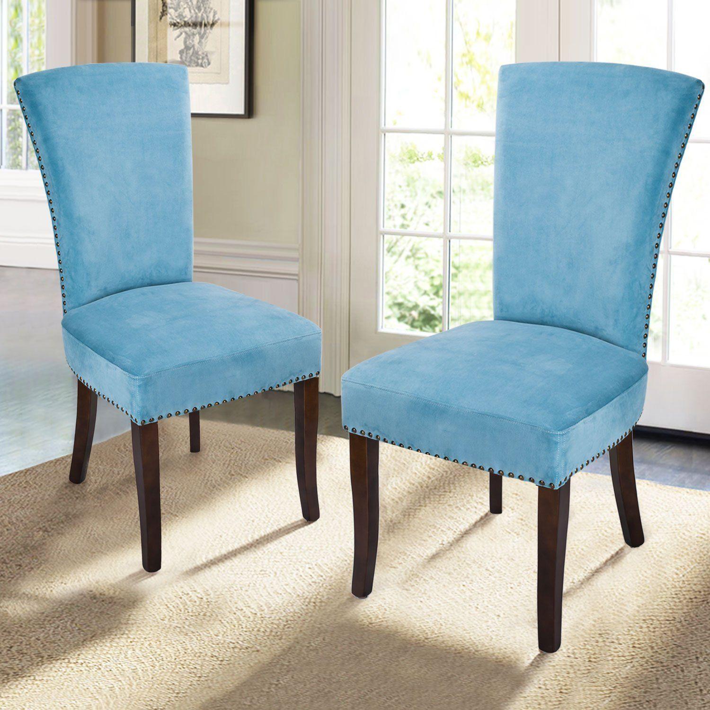 Amazon Com Home 39 S Arts Villa Dining Chairs Nailhead Trims With Espresso Wood Legs 4 Microfiber Blue Cheap Leather Chairs Dining Chairs Dining Chair Set