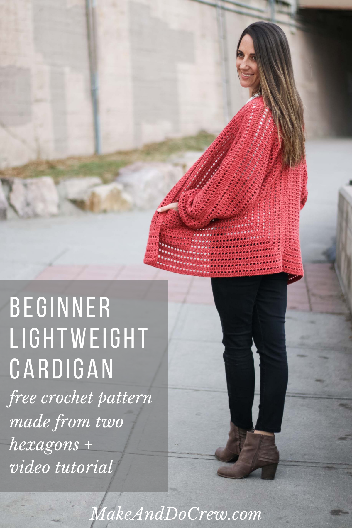 Free Crochet Cardigan Pattern - Made From Two Hexagons