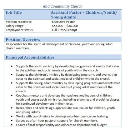 Sample Church Employee Job Descriptions Job description and Churches - youth worker sample resume