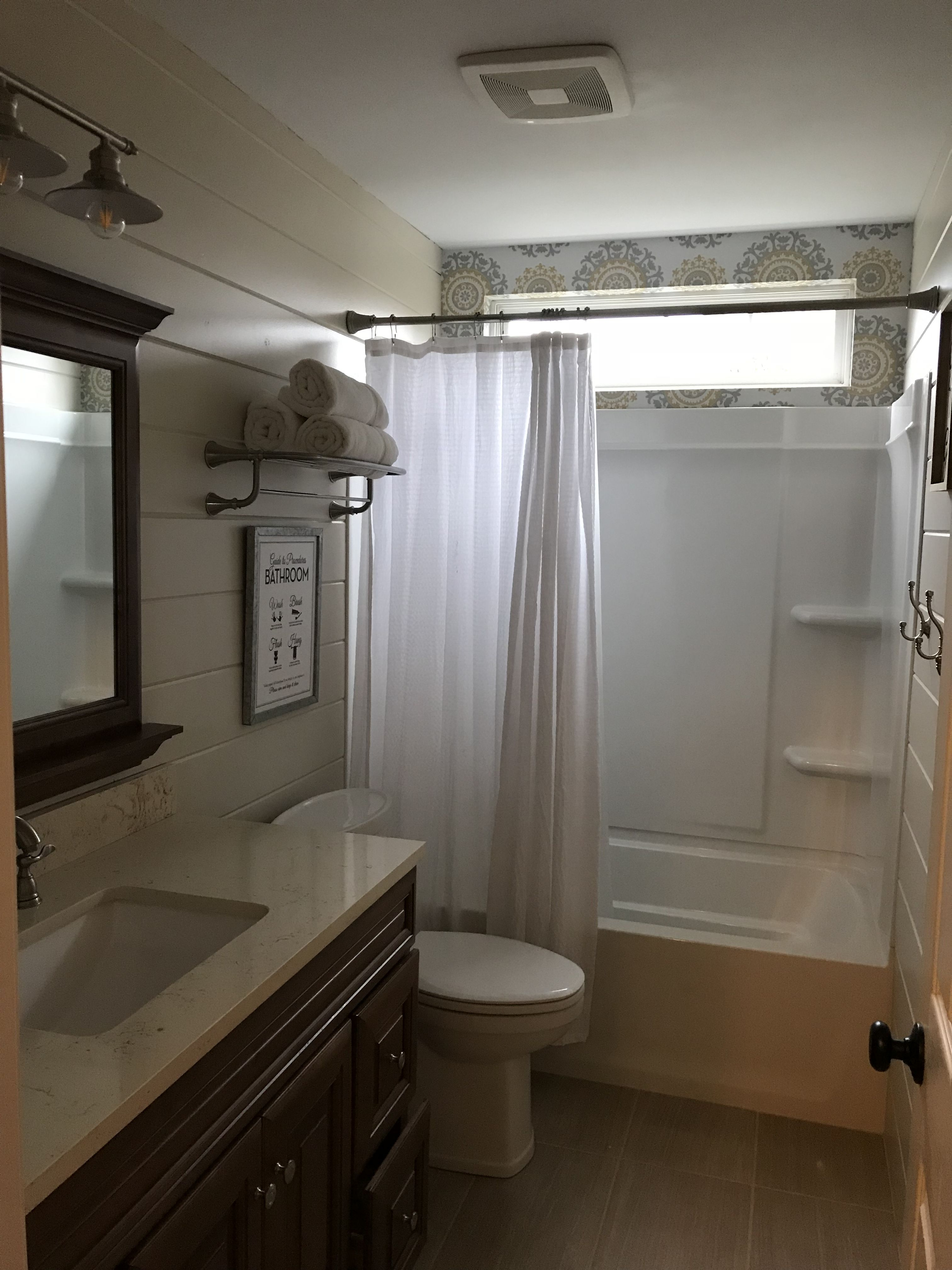 Kids Bathroom Remodel Easy Shiplap Walls And Stick And Peel