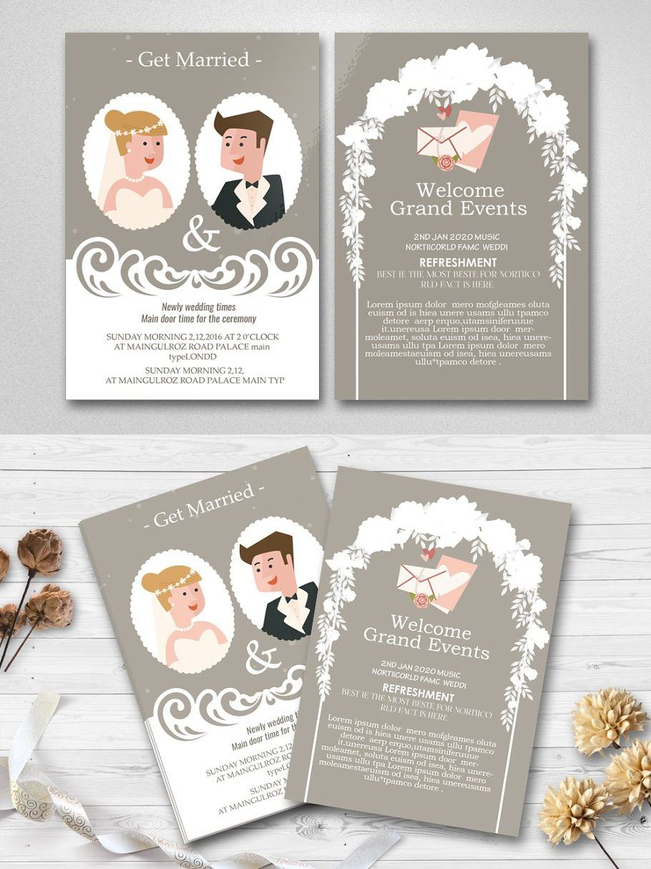 Two Sided Wedding Invitation Card Wedding Invitation Cards Wedding Invitations Wedding Templates