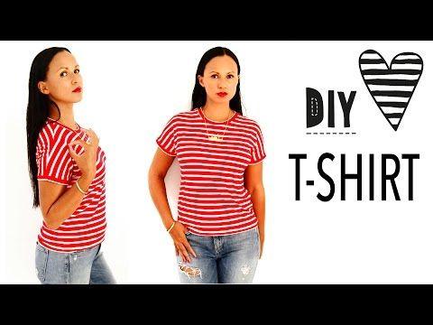 T-Shirt nähen ohne Schnittmuster / DIY MODE Nähanleitung - YouTube ...