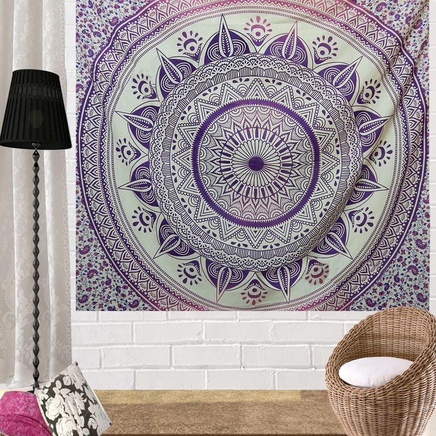 Indian Hippie Ethnic Bohemian Psychedelic Purple Pink Ombre