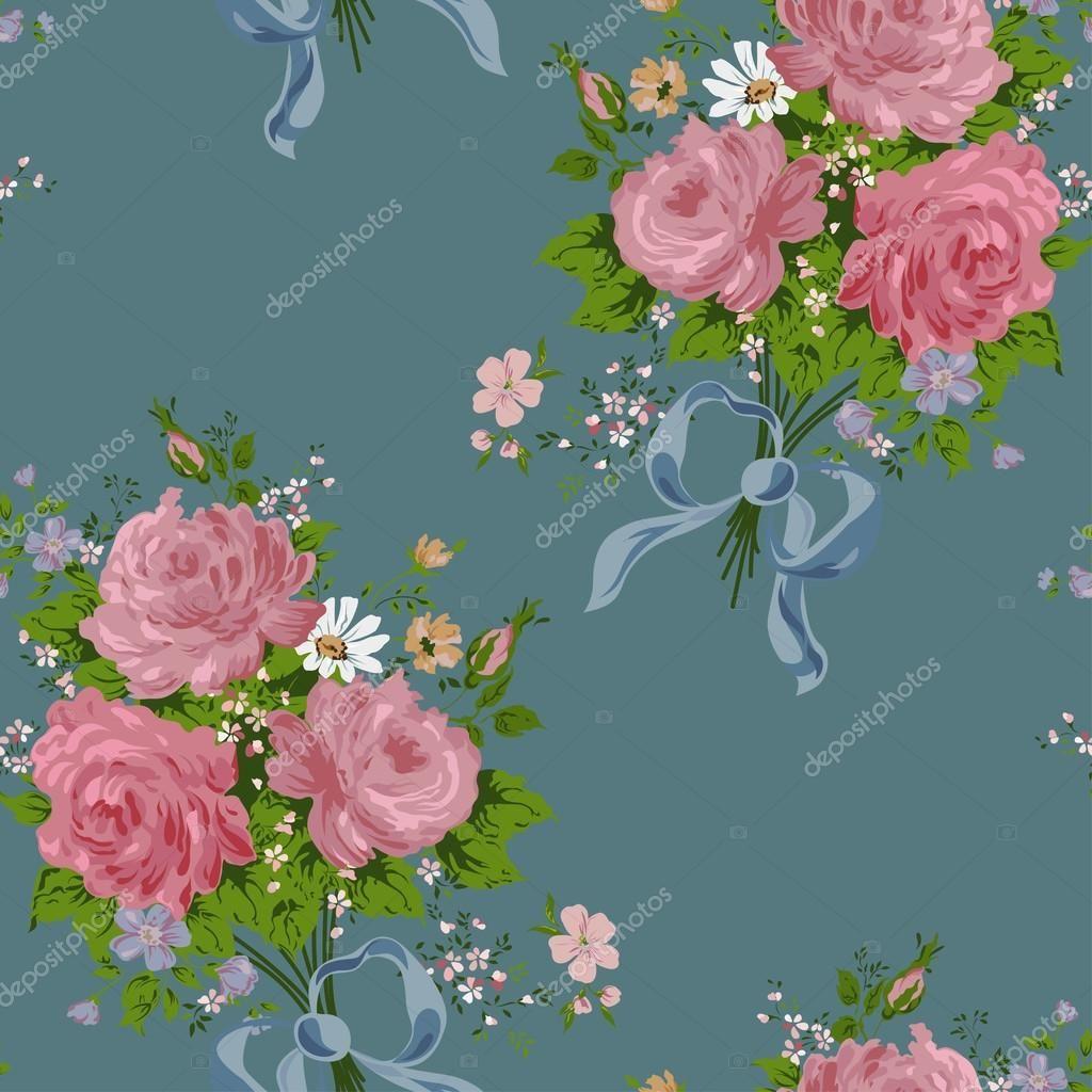 Download wallpaper vintage rose pattern on navy background u stock