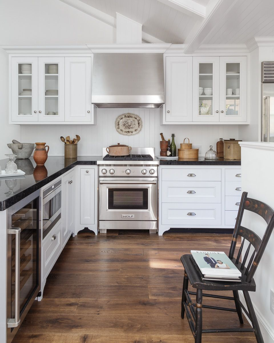 White Traditional Kitchen With Modified Frame Cabinets Bead Board